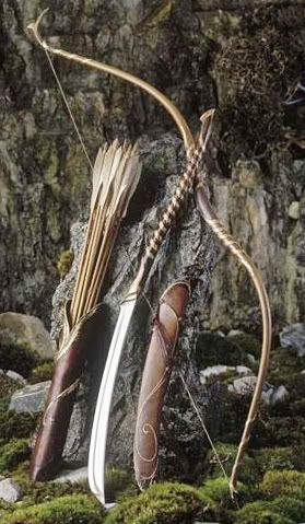 Archery props from Lord of the Rings.  These are the beautiful double recurve bows. and the beautiful quivers (or cases) for the arrows.