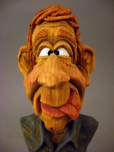 Hand carved wood caricature bust hands and