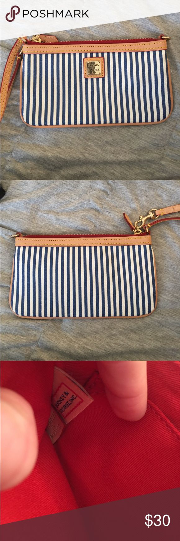 Rooney & Bourke wristlet Blue and white striped. In perfect condition & has never been used Dooney & Bourke Bags Clutches & Wristlets