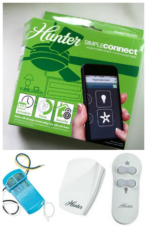 Enter to win a Hunter Ceiling Fan SimpleConnect Bluetooth Receiver that allows you to use your smart phone to control the ceiling fans and lights in your home.  It also comes with a ceiling fan remote control (ARV $100).   The giveaway is open to US residents only and ends June 12, 2015.