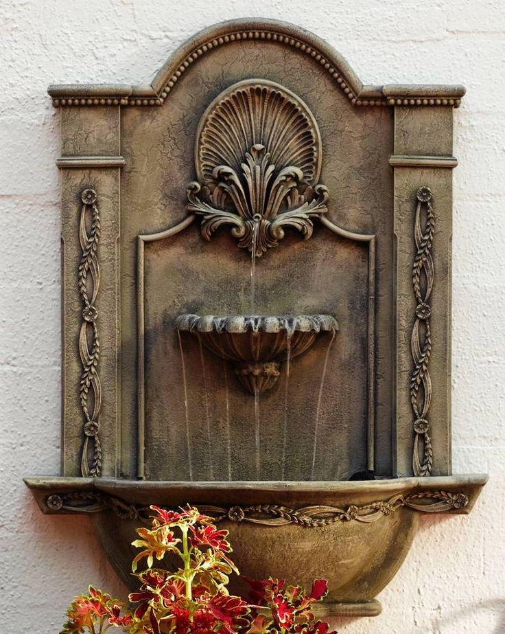 Formal Garden Wall Mount Water Fountain 31 X 23 In 11 Color Choices  (LB88108)
