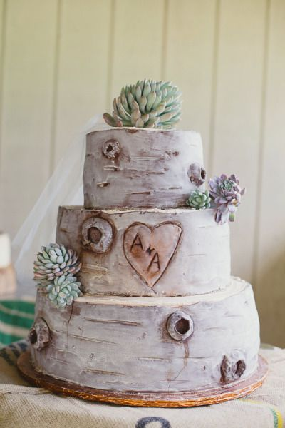 tree carving initials cake