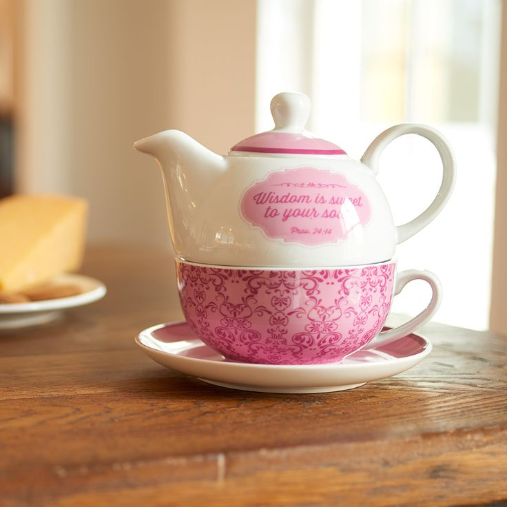 Tea for One Teapot Wisdom Sweet Range  - Prov 24:14 Owl  Tea-for-One set includes nesting cup and teapot with lid, plus matching plate, all packaged in coordinating round hatbox.   Mug holds 8 ounces, teapot holds 14 ounces. Ceramic.  Release Date: June 2015.