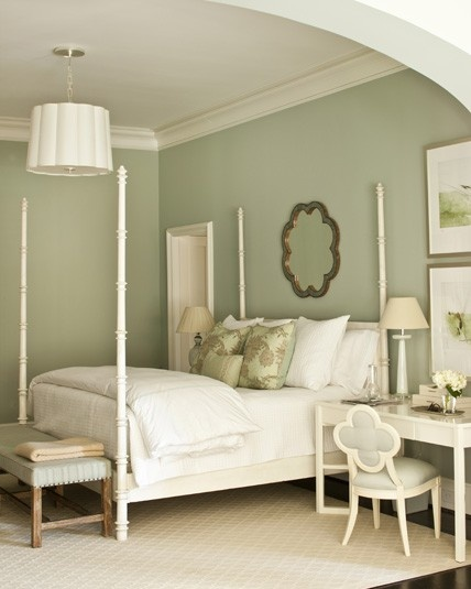 A palette of light blue and beige-y colors makes this master bedroom both restful and peaceful. The wall color is Farrow and Ball # 22 Light Blue.