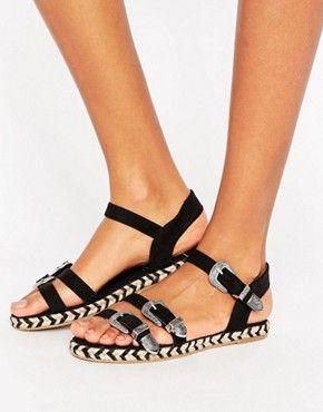 Sandales plates   Spartiates, sandales en cuir et sandales dorées   ASOS
