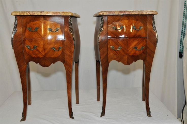 Gorgeous Pair French Night Stands With Marble Tops