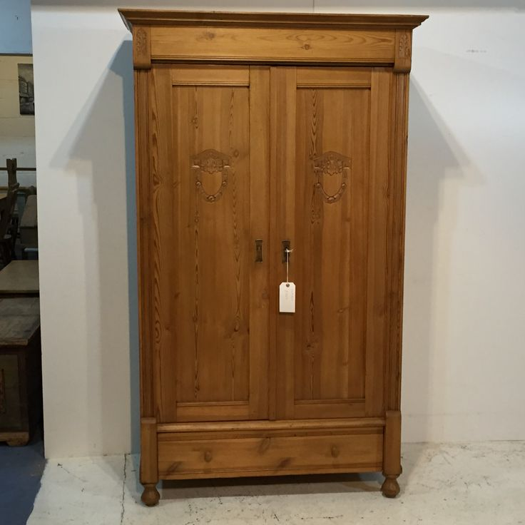 Small Polished Antique Pine Wardrobe (S4903D)