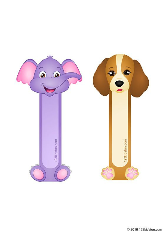 Free Animals Bookmarks Printable For Kids Elephant Dog Paper