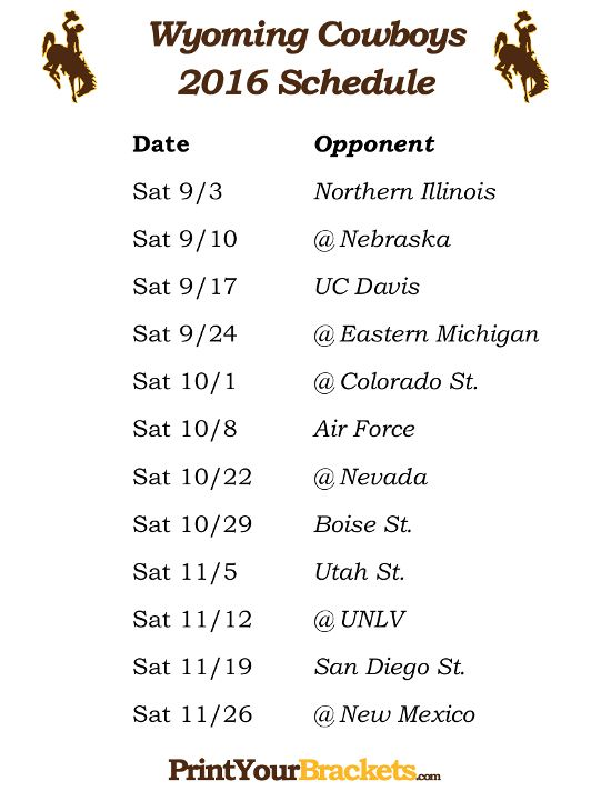 Printable Wyoming Cowboys Football Schedule 2016