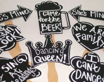8 Chalkboard Photo booth Props WITH Phrases Written - Chalk Board Photobooth Props Set of 8 Wedding photo Prop Decorations