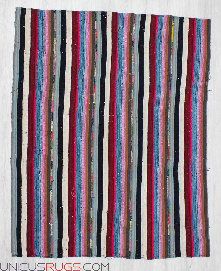 """Vintage striped kilim rug from Adana region of Turkey. In good condition. Approximately 35-45 years old. Width: 6' 3"""" - Length: 7' 9"""" Striped Kilims"""