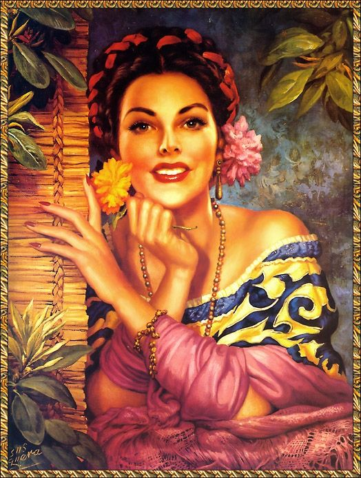 Jesus Helguera - painted many original calendar girl posters used in advertising during the first half of the 20th century