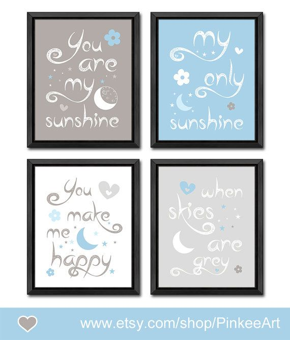 blue and gray you are my sunshine nursery moon and stars themed nursery wall art baby quotes nursery gift ideas new baby gift nursery quote by PinkeeArt, $29.00