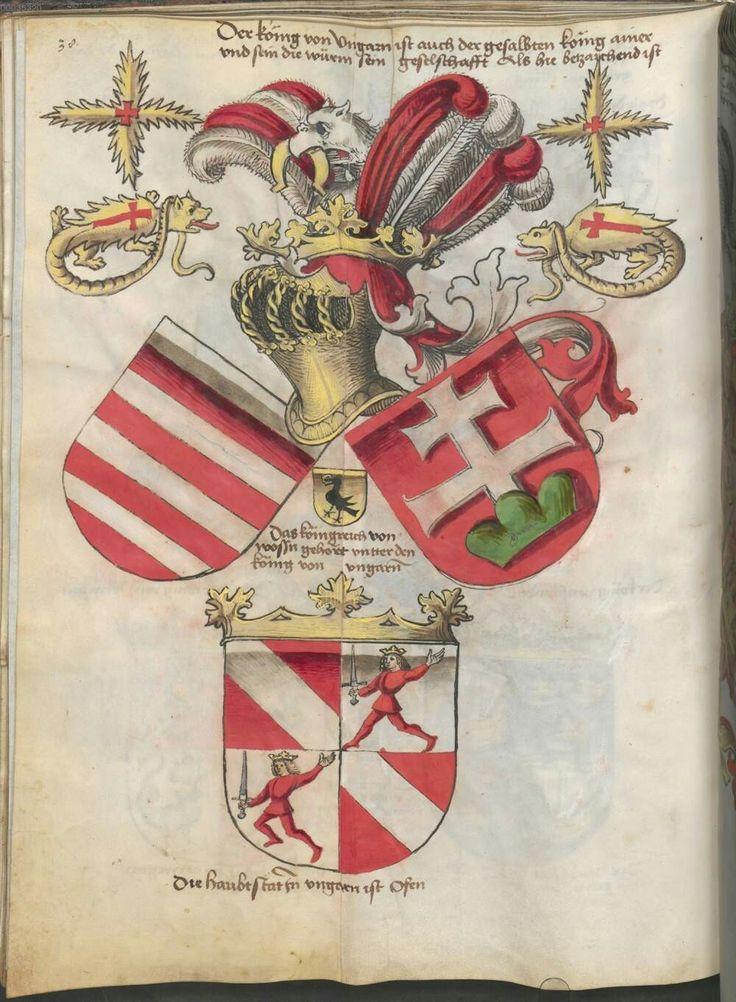 Wappen der König von Ungarn mit der Drachenorden Coat of Arms of The King of Hungary with Order of The Dragon Overthrown-Hungarian Order of The Dragon