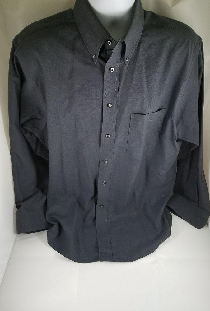 Mens ARROW COMPANY Gray Cotton Blend Long Sleeve Button Dress Shirt 16 1/2 32/33 #Stafford #Dress