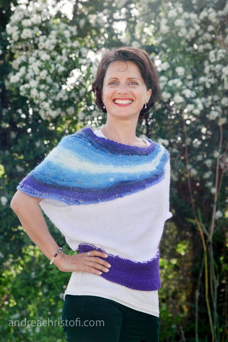 Handmade knitted, blue and purple shades, asymmetric top. by SimonaStyleByHand on Etsy