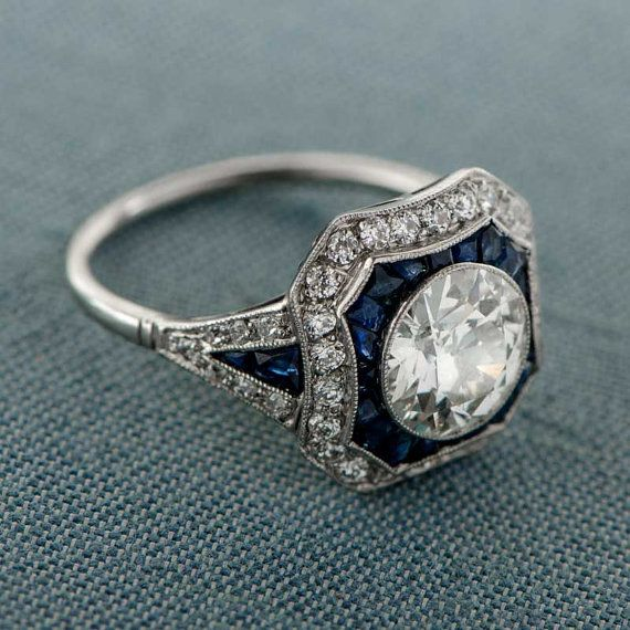 Estate Diamond and Sapphire Engagement by EstateDiamondJewelry