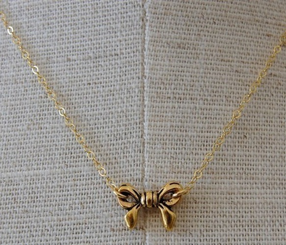 Tiny Gold Bow Necklace <3