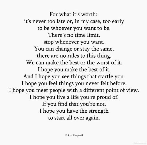 """You Have The Strength Quotes: F. Scott Fitzgerald """"I Hope You Have The Strength To Start"""