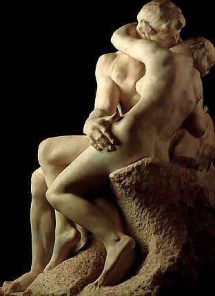 The Kiss - Auguste Rodin.  One of his most famous sculptures portrays the 13th-century Italian aristocrat Francesca da Rimini, who fell in love with her husband's younger brother, Paolo; according to the tale in Dante's Inferno, when their romance was uncovered, her husband killed them.