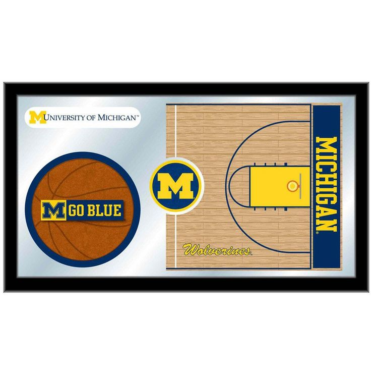 Michigan Wolverines Basketball Court Mirror Wall Art