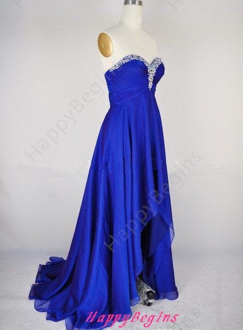 Blue prom dress long prom dresses chiffon prom by HappyBegins, $119.00