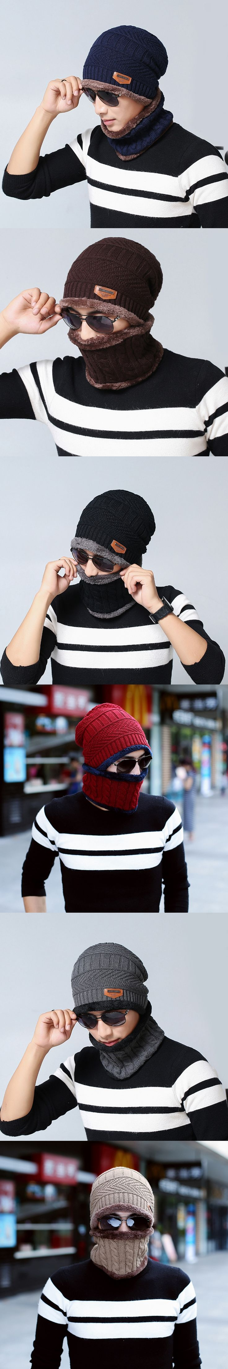 Fashion Beanie Men Winter Warm Faux Fur Lined Baggy Hat Neckerchief Scarf Cap