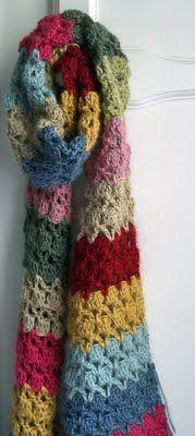 .. Scrap Yarns, Stripey Scarf, Julia Crossland, Crocheted Scarf, Colors Scarf, Winter Hit, Crochet Stitches, Rainbows Bliss, Crochet Scarfs