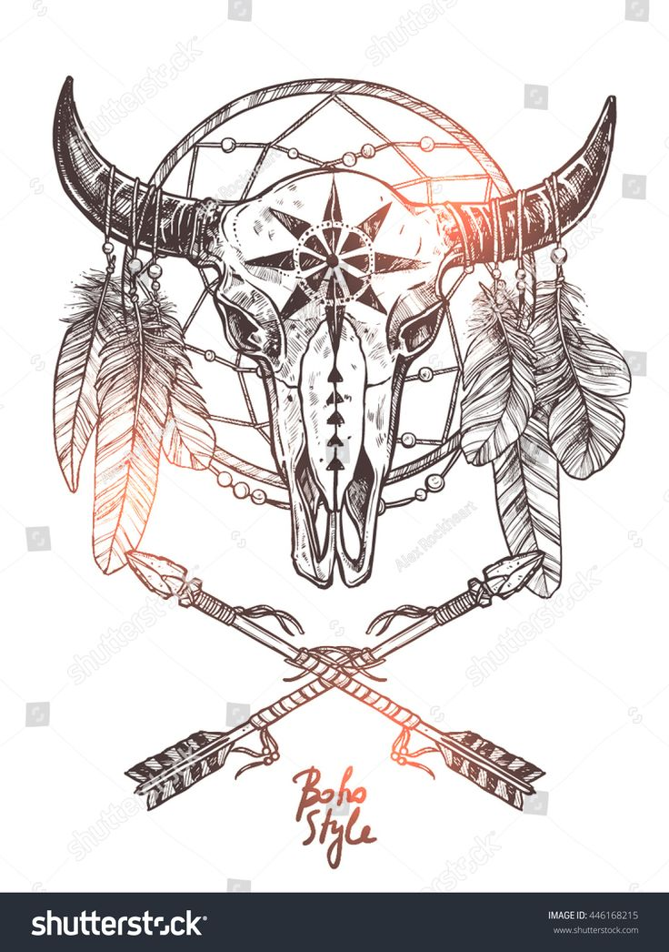 Boho Sketch Illustration With Hand Drawn Bull Skull With Indian Arrows, Feathers And Dreamcatcher. Monochrome Hipster Fashion Print Amanda Grant