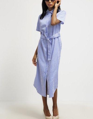Mads Nørgaard Saxalla Sukienka koszulowa w paski midi blue/white