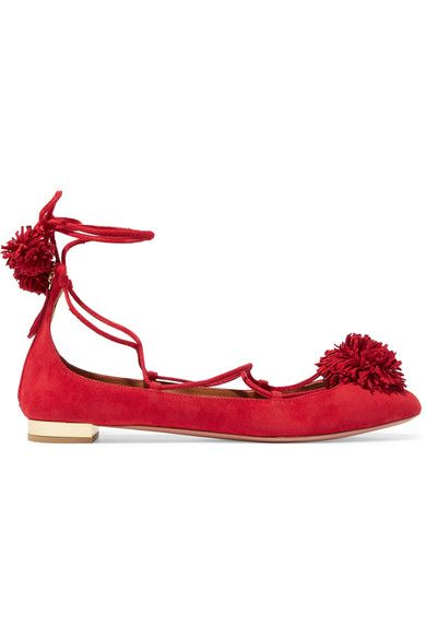 Aquazzura - Sunshine Pompom-embellished Suede Ballet Flats - Red - IT40.5