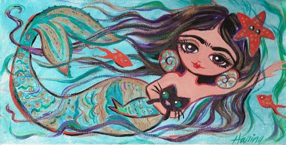 "Frida Kahlo Mermaid and Cat  5""x10"" Print from my Painting Mexican Art Bathroom Girls room art  childrens art on Etsy, $12.95"