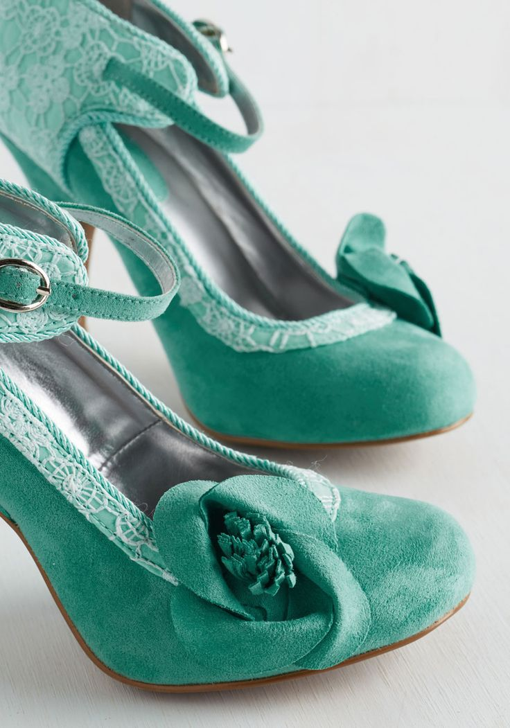 Say It Quaint So Heel. Glide to the podium in these aqua heels and let their vibrance embolden your captivating speech! #mint #wedding #modcloth