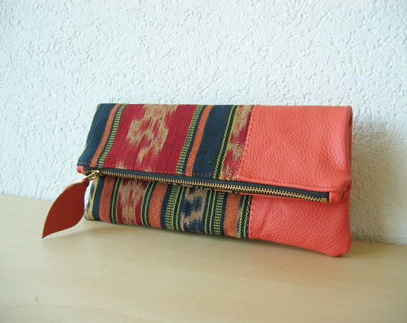 Ikat and Leather Clutch in Cow Leather and Handwoven Ikat Fabric - Indie Patchwork Series - $55 handmade in Switzerland