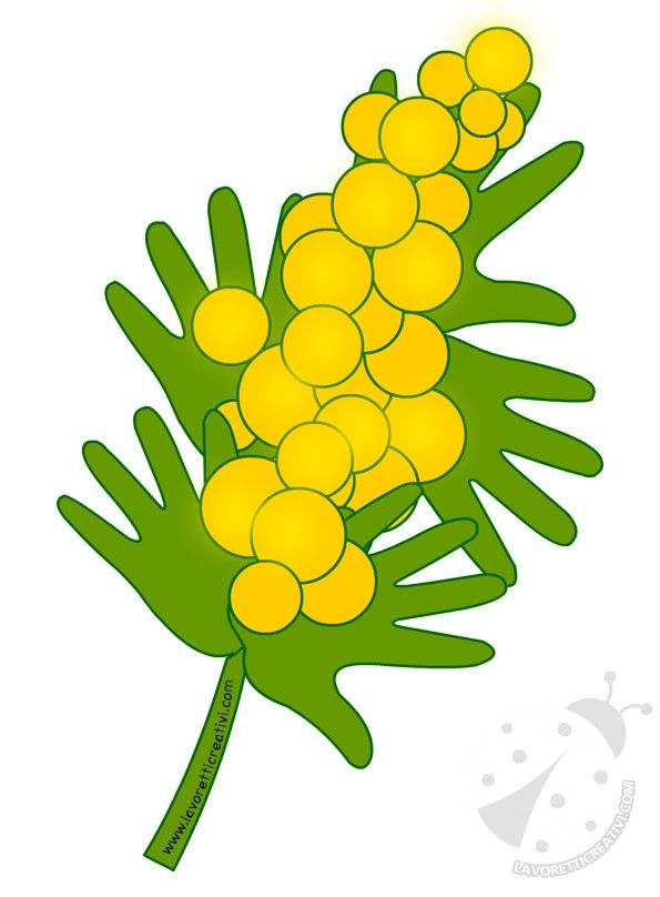 Festa della Donna Mimosa con sagome mani