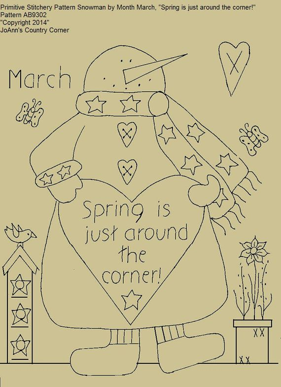 "Primitive Stitchery E-Pattern Snowman by Month March, ""Spring is just around the corner!"""