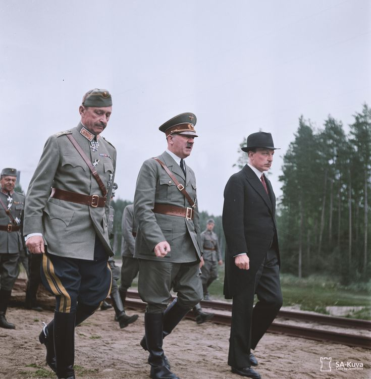 """Adolf Hitler visits C. G. Mannerheim who is celebrating his birthday. This was the same day that Mannerheim was honored with the title """"Marshal of Finland"""" a title that no one else has held since. June 4 1942."""