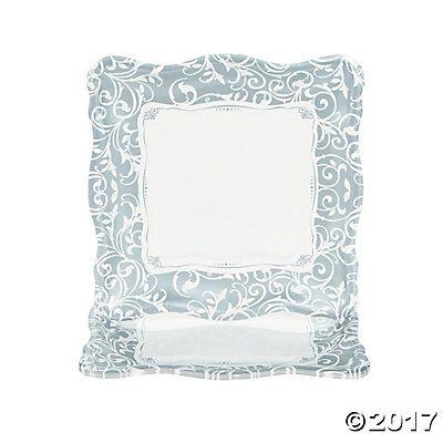 Silver Swirl Wedding Dinner Plates