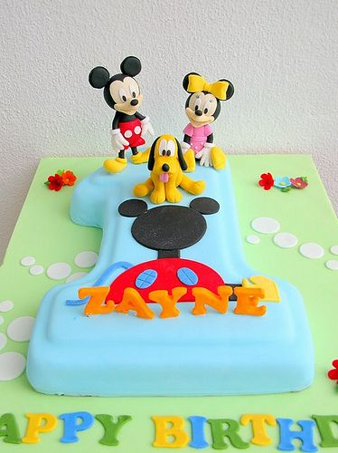 A No. 1 cake with Mickey, Minnie and Pluto