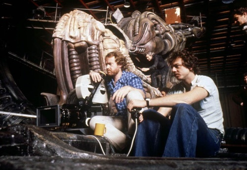 Ridley Scott with cast and crew on-set of Alien (1979)