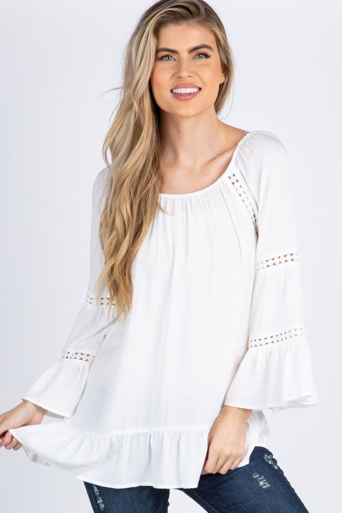 b69a2e446f155 White Bell Sleeve Crochet Top in 2019 | Tops | Tunic tops, Tops, Maternity  tops