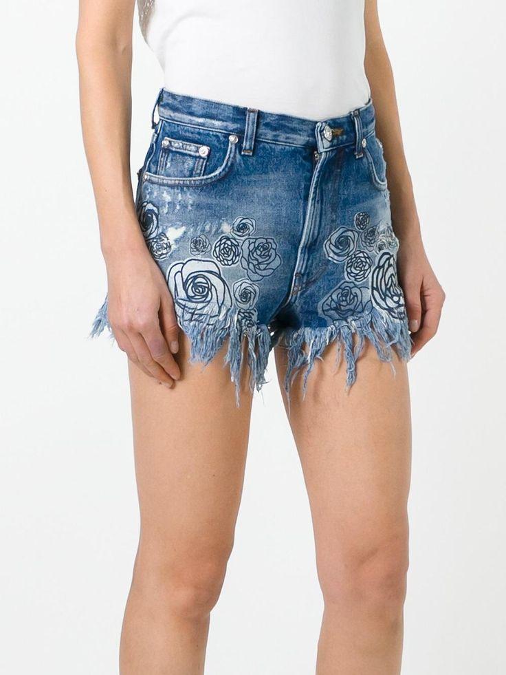 Versus Shorts jeans com estampa de rosa