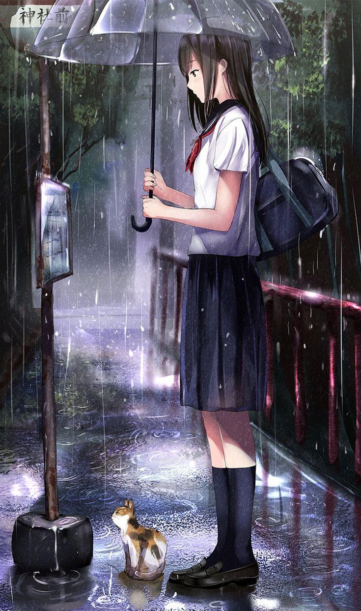 Một Nữ Học Sinh đứng Dưới Mưa Để Che Chở Cho Con M 232 O