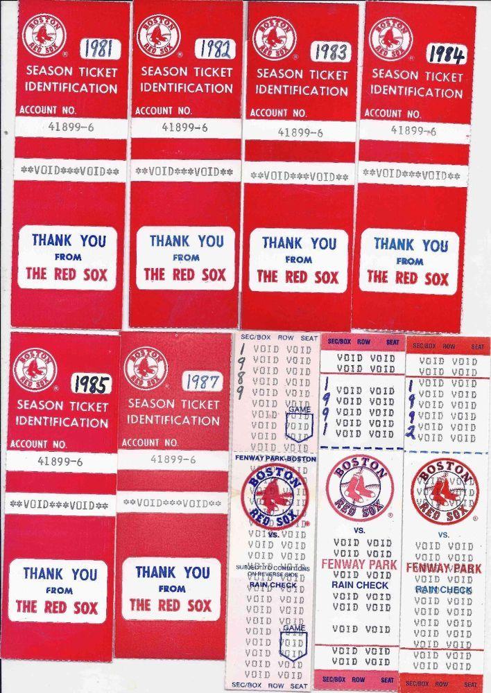 Red Sox season ticket holder lot 9 diffferent 1981-1992 & bonus player postcards