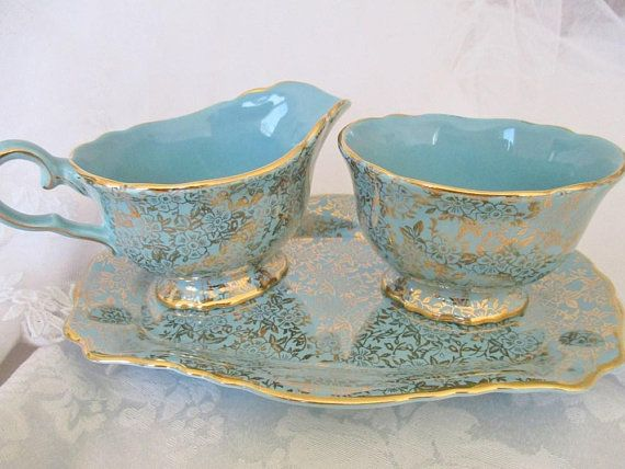 OLD FOLEY CHINTZ 3pc. cream and sugar set with tray in turquoise with gold floral chintz overlay, 1930's Staffordshire, mint condition