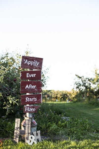 This sign was perfect for an apple orchard wedding!  {Clare Marie Photography}