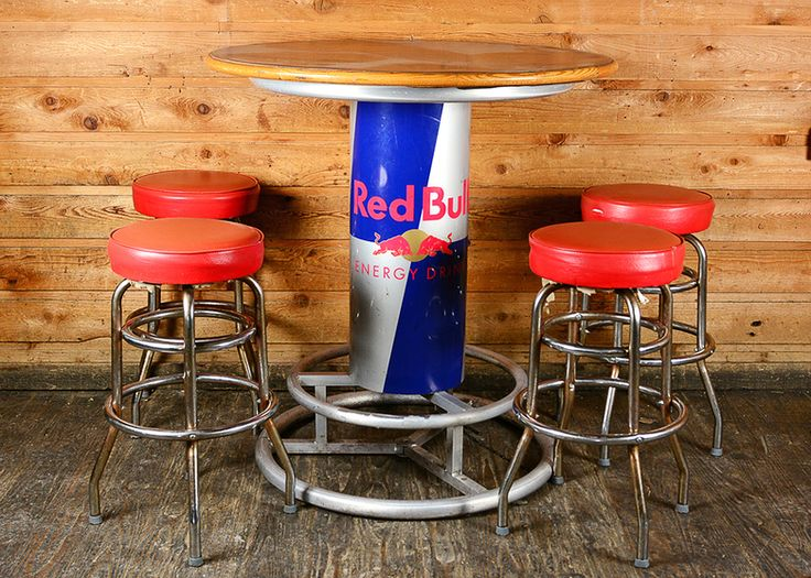 Round Red Bull Bar Table And Stools Bull Bar Stools And
