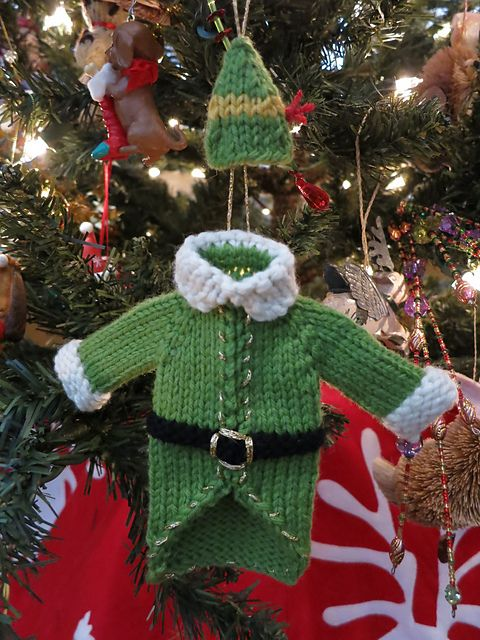Ravelry: Buddy the Elf Sweater & Hat pattern by Kriste Bee. These are knitted but I'm sure I could make up a crochet version!