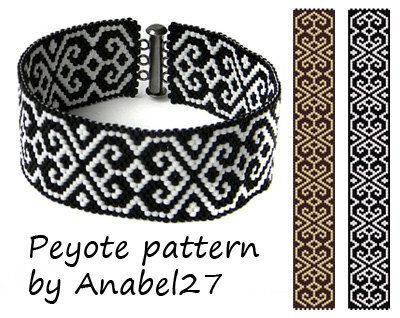 Black & White peyotl motif - monochrome de perlage - style ethnique - - perle motif #29
