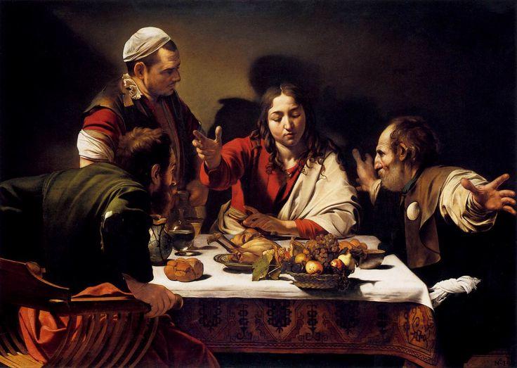 Cena de Emmaus.  National Gallery of London. Oleo en tela.  Es el momento en donde todos los invitados se dan cuenta de quién es el que comparte su mesa.